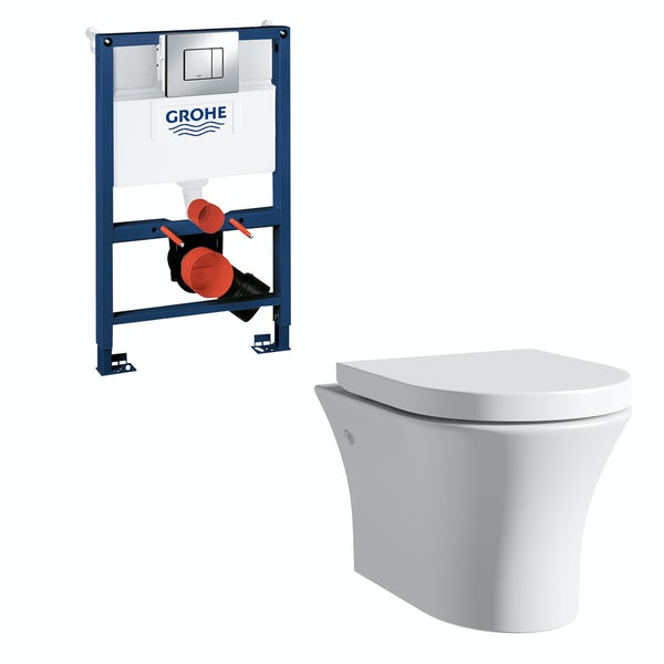 Mode Hardy rimless wall hung toilet, Grohe frame and Skate Cosmopolitan push plate 0.82m