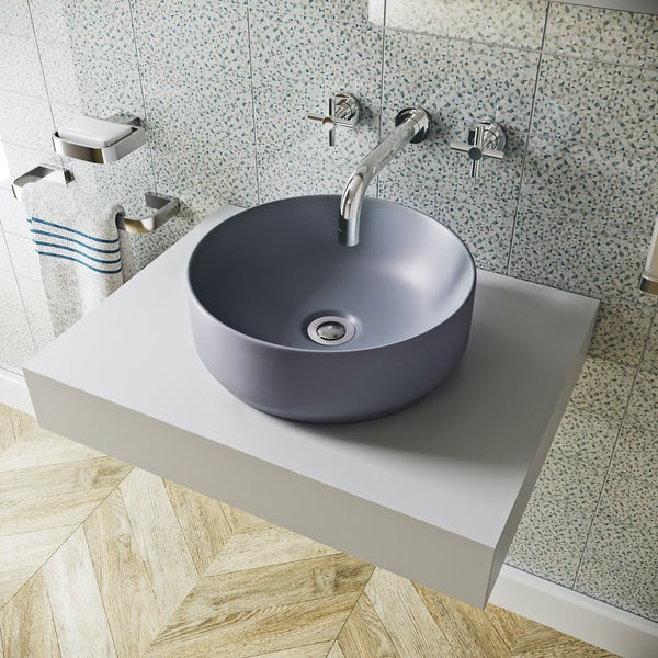 Mode Orion lilac grey coloured countertop basin 355mm