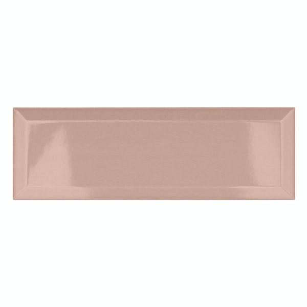 Maxi Metro blush pink bevelled gloss wall tile 100mm x 300mm