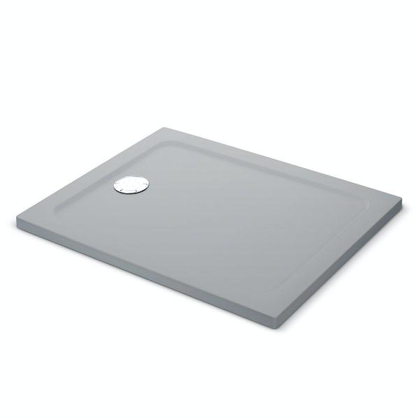 Mira Flight Safe low level anti-slip rectangular shower tray in Titanium grey