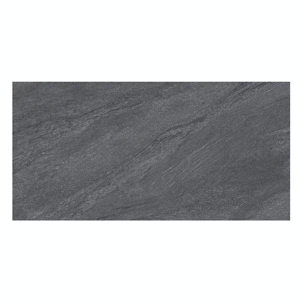 Alicura charcoal stone effect matt wall and floor tile 300mm x 600mm