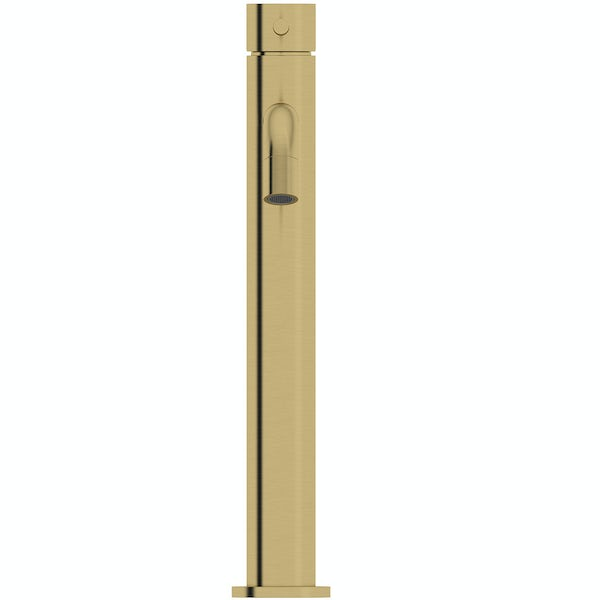 Mode Spencer round brushed brass high rise basin mixer tap