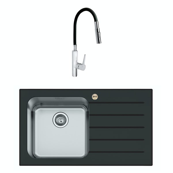 Bristan Gallery glacier right handed black glass easyfit 1.0 bowl kitchen sink with Flex tap