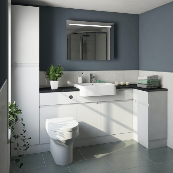 Orchard Wharfe white corner small storage fitted furniture pack with black worktop