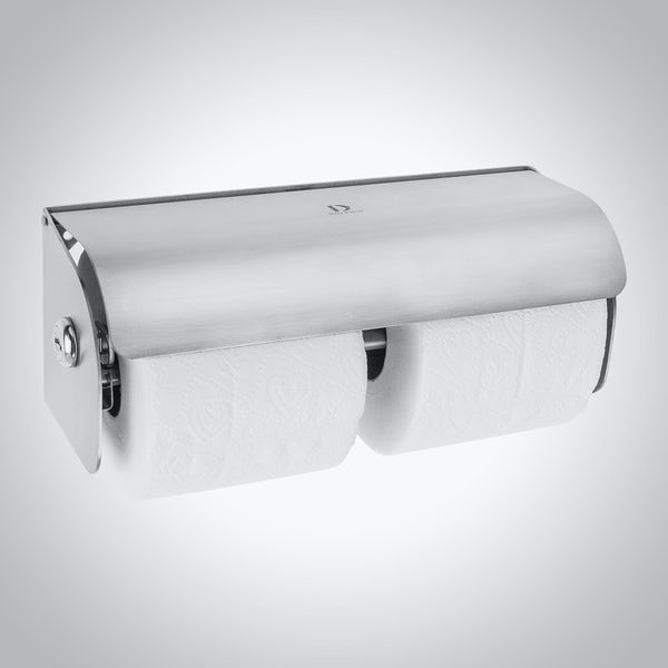 Dolphin commercial double satin stainless steel lockable toilet paper dispenser