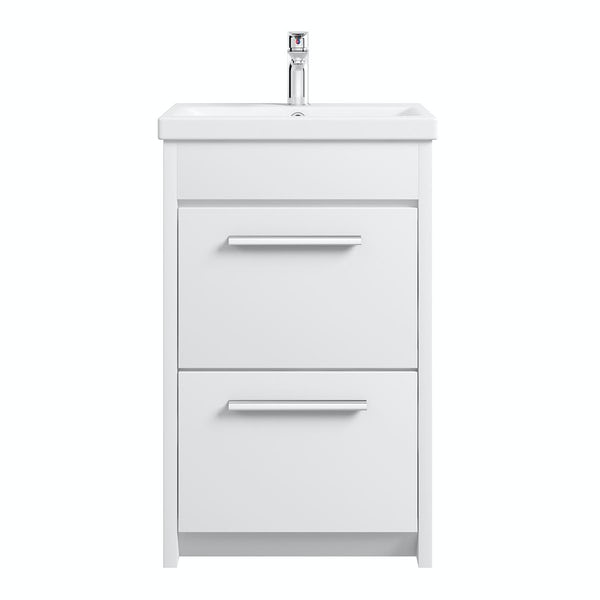 Clarity white floorstanding vanity unit with ceramic basin 510mm with tap