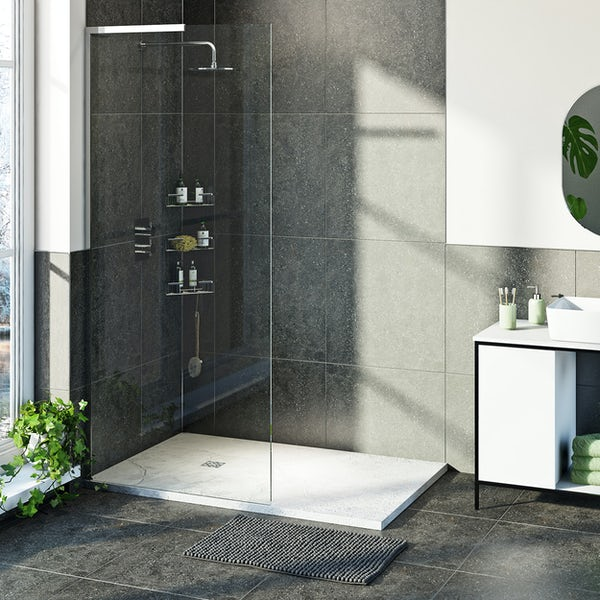 Mode 8mm walk in left handed shower enclosure bundle with white slate effect shower tray