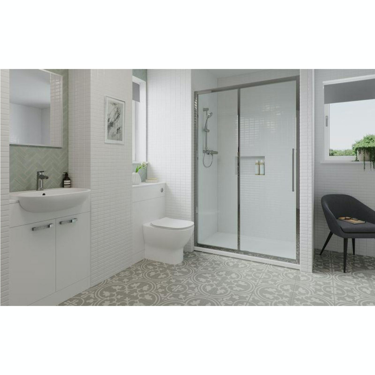 Ideal Standard Tesi Ensuite Suite With Shower Enclosure, Furniture Set, Tray, Shower, Taps And Waste 1200mm