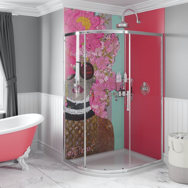 Louise Dear Kiss Kiss Bam Bam Hot Pink acrylic shower wall panel pack with left handed offset quadrant enclosure