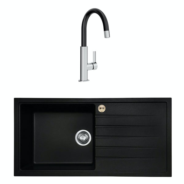 Bristan Gallery quartz right handed black easyfit 1.0 bowl kitchen sink with Melba black tap