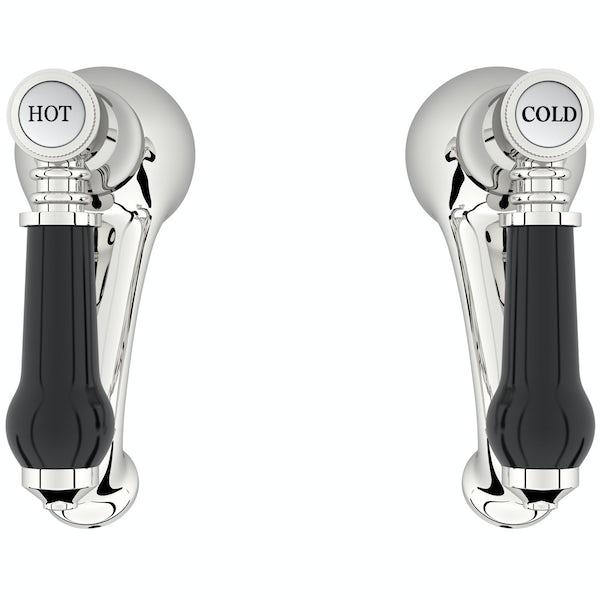 The Bath Co. Winchester bath pillar taps with black lever handle