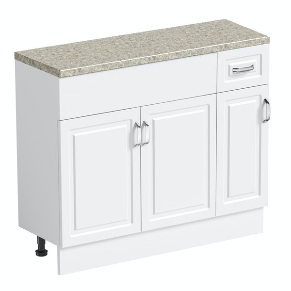 Orchard Florence white 650mm, small storage unit & plinth with beige top