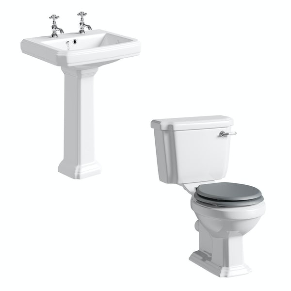 The Bath Co. Dulwich cloakroom suite with grey seat and full pedestal basin 585mm