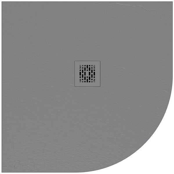 Mode slate effect grey quadrant shower tray 900 x 900 with colour matched waste cover