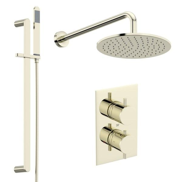 Mode Spencer round gold triple valve shower set