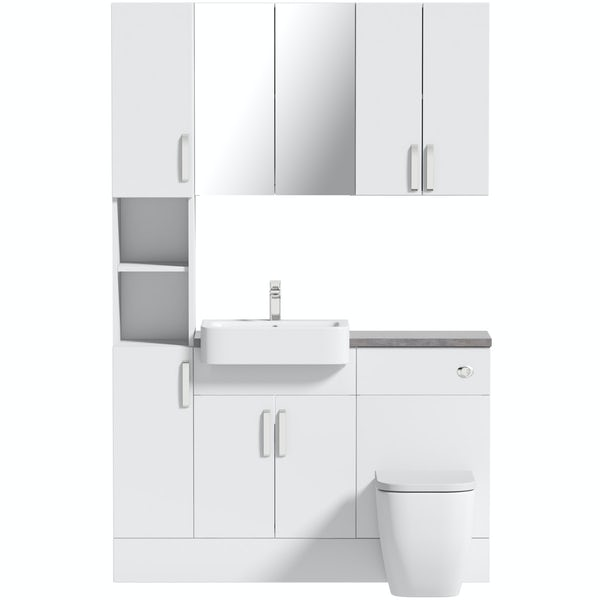 Mode Nouvel gloss white tall fitted furniture & storage combination with mineral grey worktop