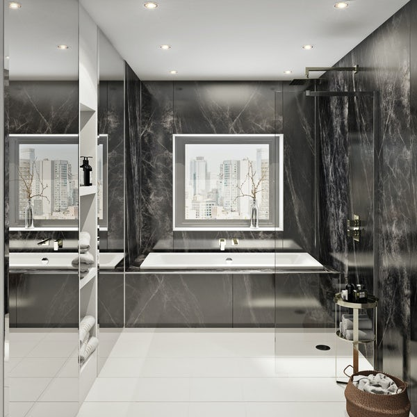 Multipanel Linda Barker Jet Noir unlipped shower wall panel 2400 x 1200