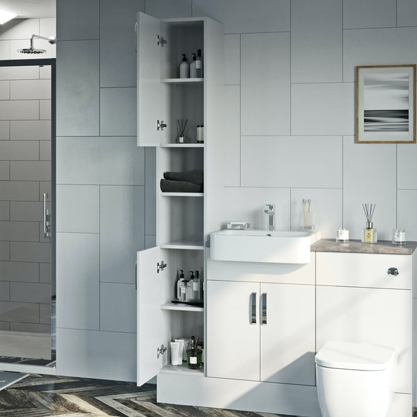Reeves Nouvel gloss white tall fitted furniture & mirror combination with pebble grey worktop
