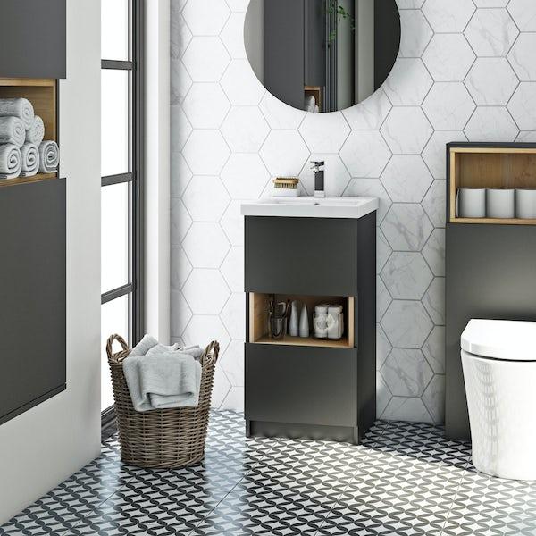 Mode Tate anthracite black & oak cloakroom vanity unit 420mm