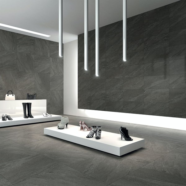 Alicura charcoal stone effect matt wall and floor tile 300mm x 600mm
