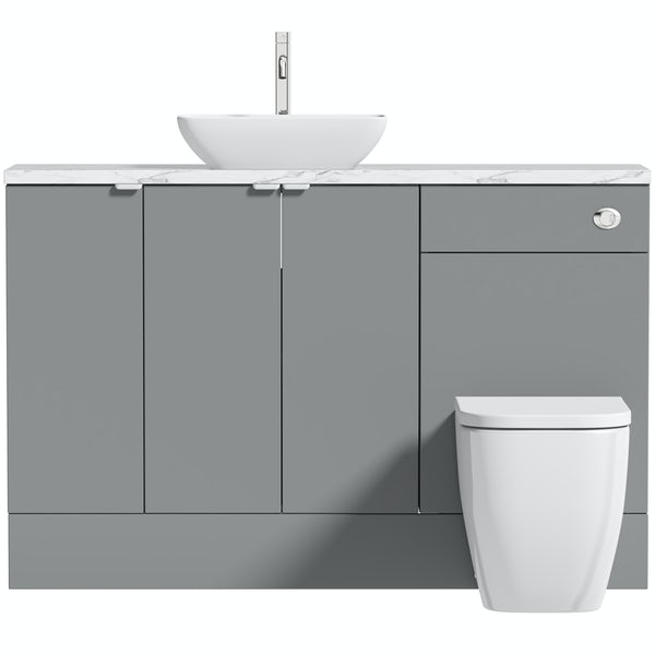 Reeves Wyatt onyx grey small fitted furniture combination with white marble worktop and countetop basin