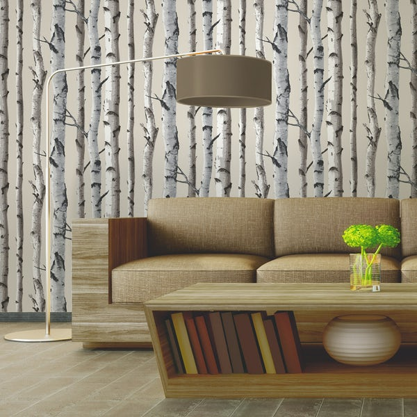 Fine Decor birch tree sidewall natural cream wallpaper