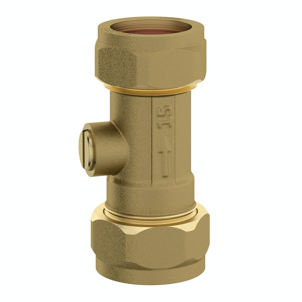 Straight isolation valve 15mm x 15mm brass
