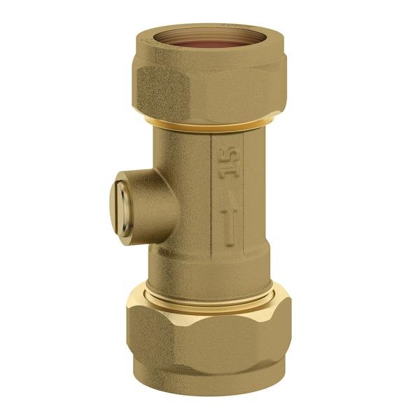 Straight isolation valve 15mm x 15mm brass