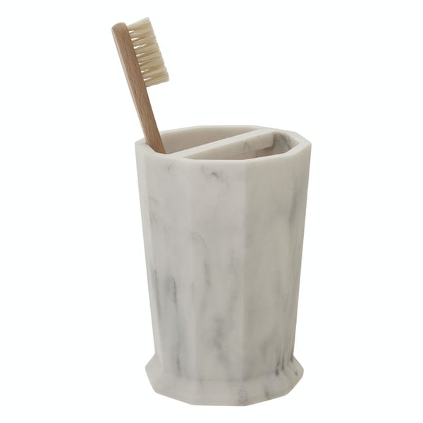 Accents Riviera geometric white marble effect toothbrush holder