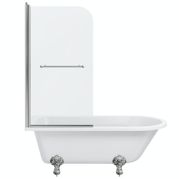 The Bath Co. Dulwich traditional freestanding shower bath with 6mm shower screen and rail