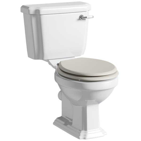 The Bath Co. Dulwich close coupled toilet inc stone ivory soft close seat with pan connector