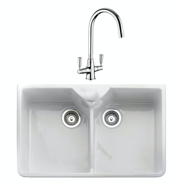 Rangemaster Double Bowl Belfast ceramic kitchen sink and Aquaclassic kitchen tap