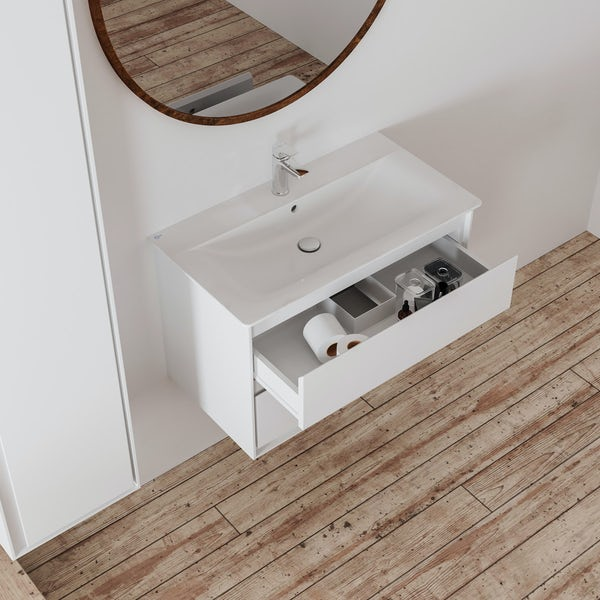 Ideal Standard Concept Air gloss and matt white wall hung vanity unit and basin 800mm