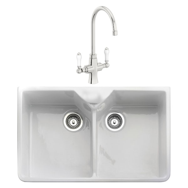 Rangemaster Double Bowl Belfast ceramic kitchen sink and Schon traditional kitchen tap