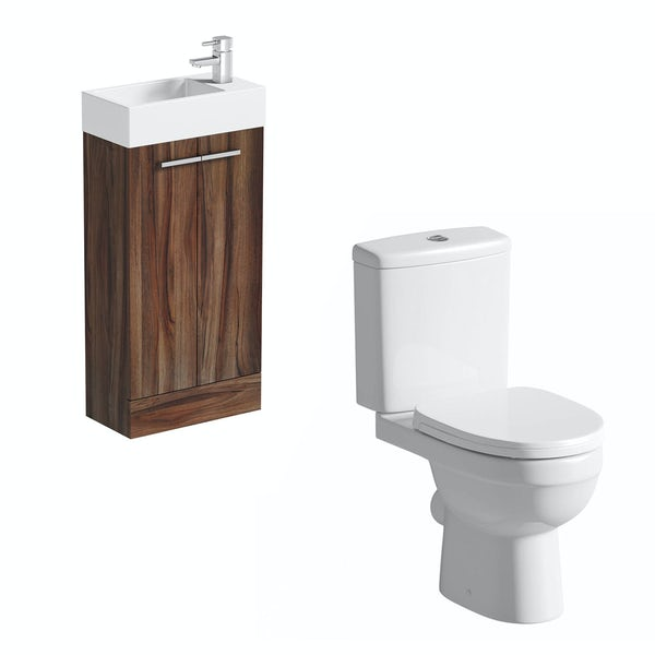 Clarity Compact walnut cloakroom suite with contemporary close coupled toilet