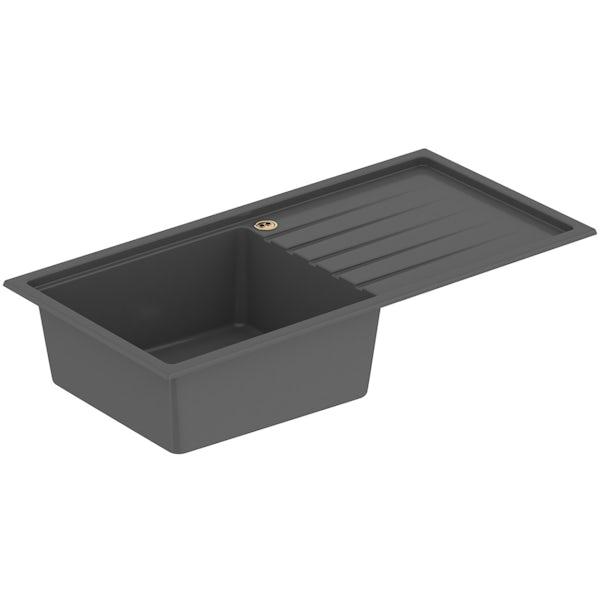 Bristan Gallery quartz midnight grey easyfit kitchen sink 1.0 bowl with right drainer
