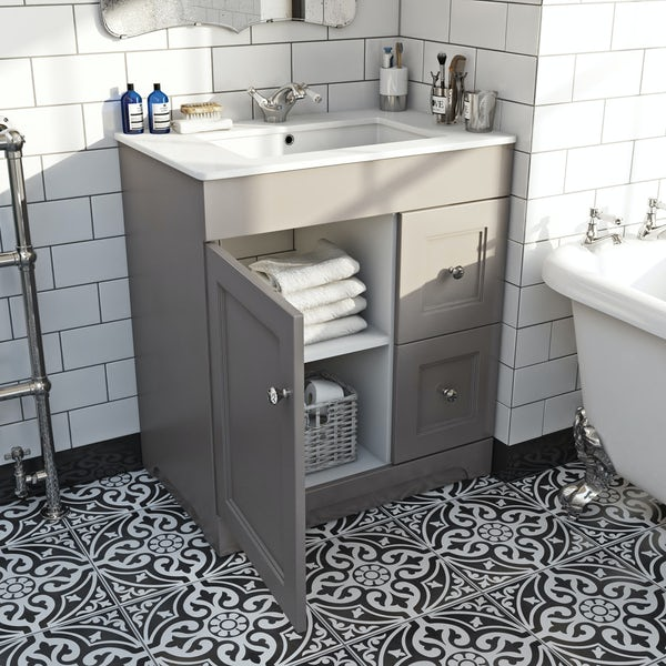 The Bath Co. Winchester graphite vanity unit and basin 760mm