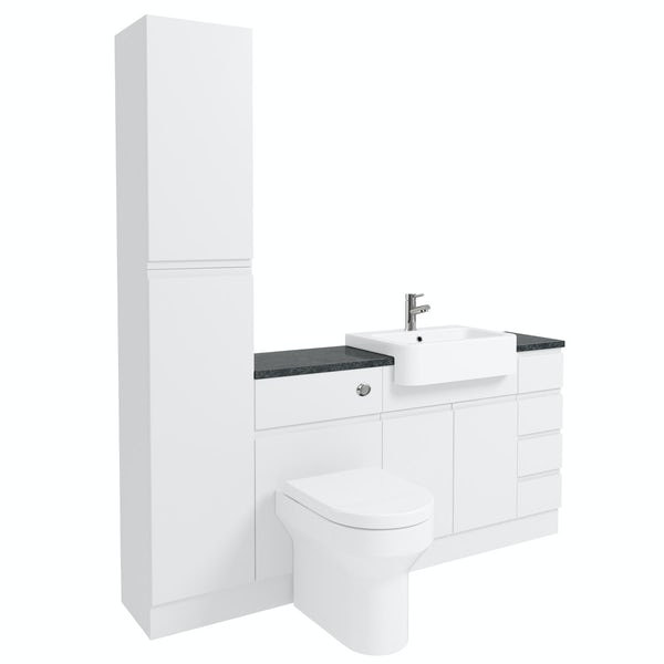Orchard Wharfe white straight small drawer fitted furniture pack with black worktop