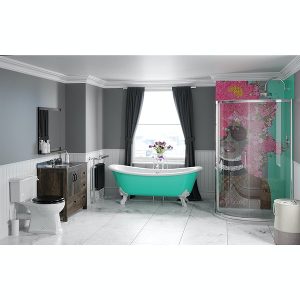 Louise Dear Kiss Kiss Bam Bam Green bathroom suite with freestanding bath and quadrant shower enclosure