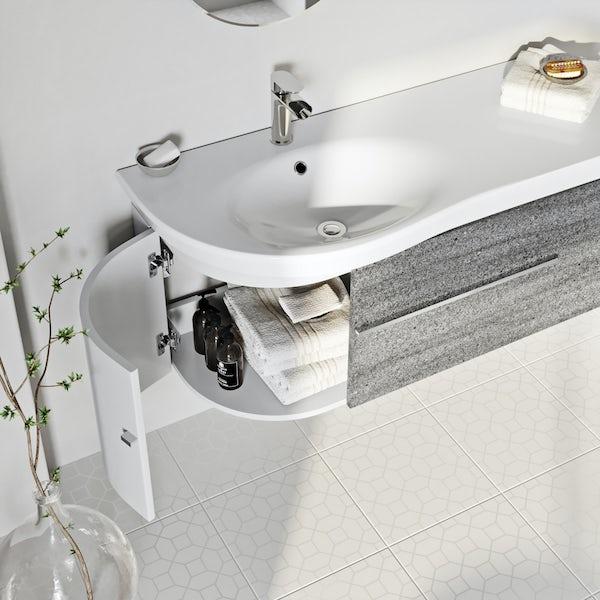 Mode Burton ice stone wall hung vanity unit and basin 1200mm