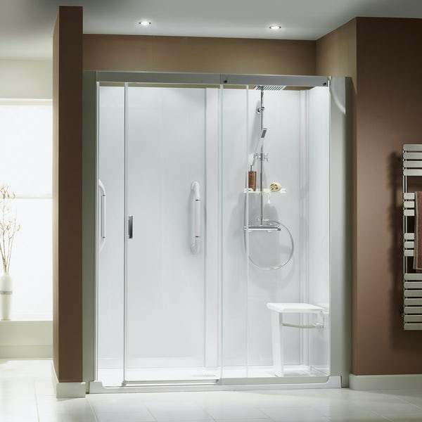 Kinemagic Serenity easy install bath replacement recessed shower cabin 1700 x 800