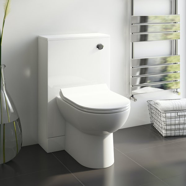 Orchard Derwent white slimline back to wall unit and Eden contemporary toilet with seat