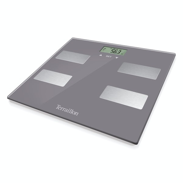 Terraillon Scan slim grey bathroom scale and body fat analyser
