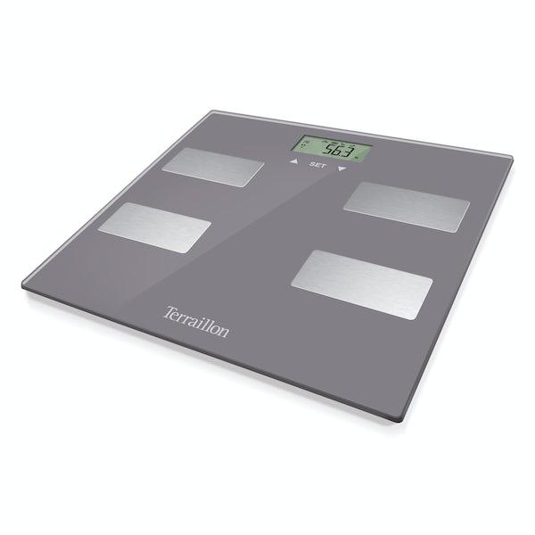 Terraillon Scan slim grey bathroom scale and body fat analyser