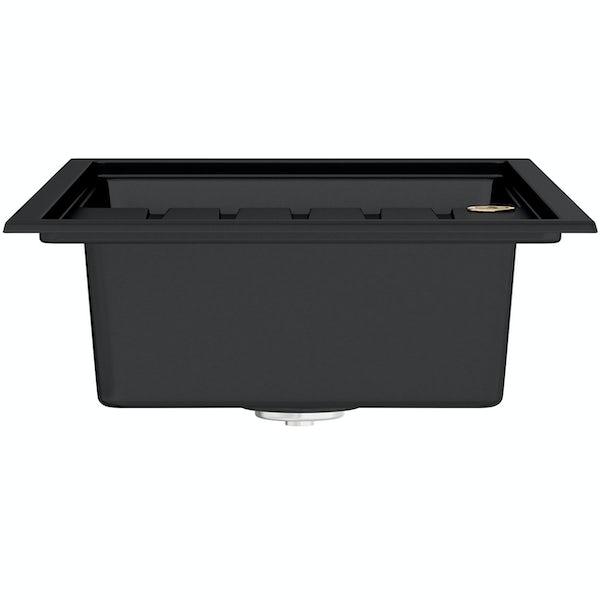 Bristan Gallery quartz black easyfit kitchen sink 1.0 bowl with right drainer