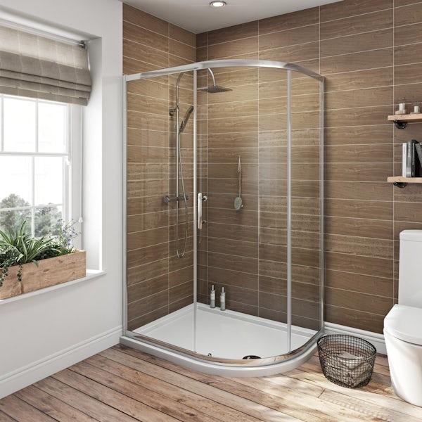 6mm single door offset quadrant shower enclosure