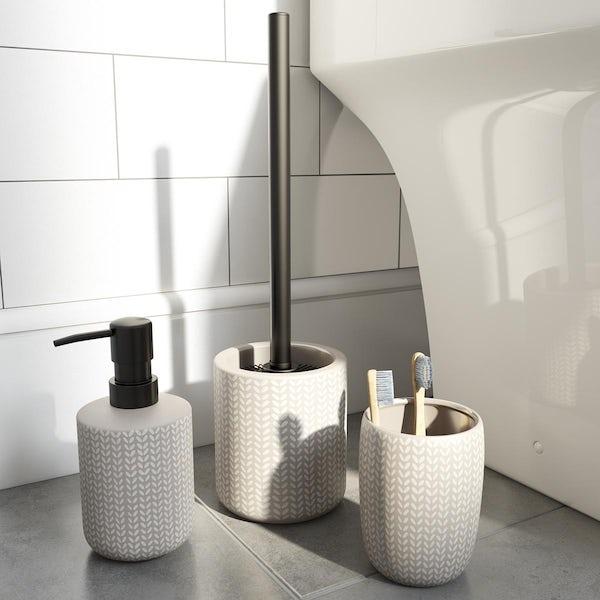 Accents grey ceramic 3 piece bathroom setAccents Maya grey ceramic 3 piece bathroom set