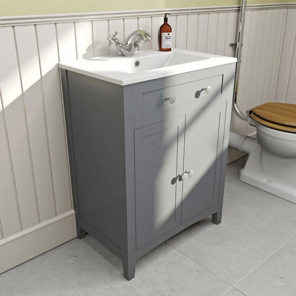 The Bath Co. Camberley satin grey high level furniture suite with straight bath 1700 x 700