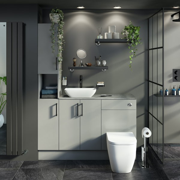 Reeves Wyatt light grey tall fitted furniture combination with pebble grey worktop and countetop basin
