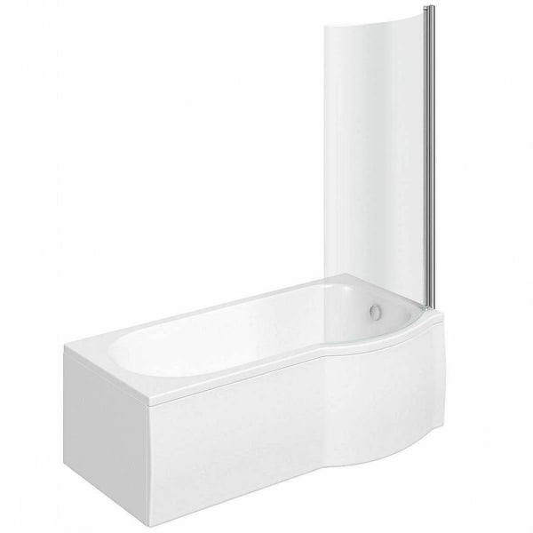 Orchard P shaped right handed shower bath with screen and bath mixer tap pack